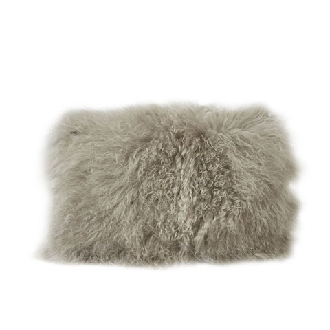 Grey Fur Lumbar Pillow