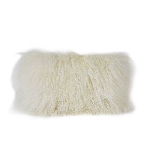 White Fur Lumbar Pillow