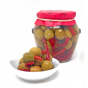 Red Chili Stuffed Olives