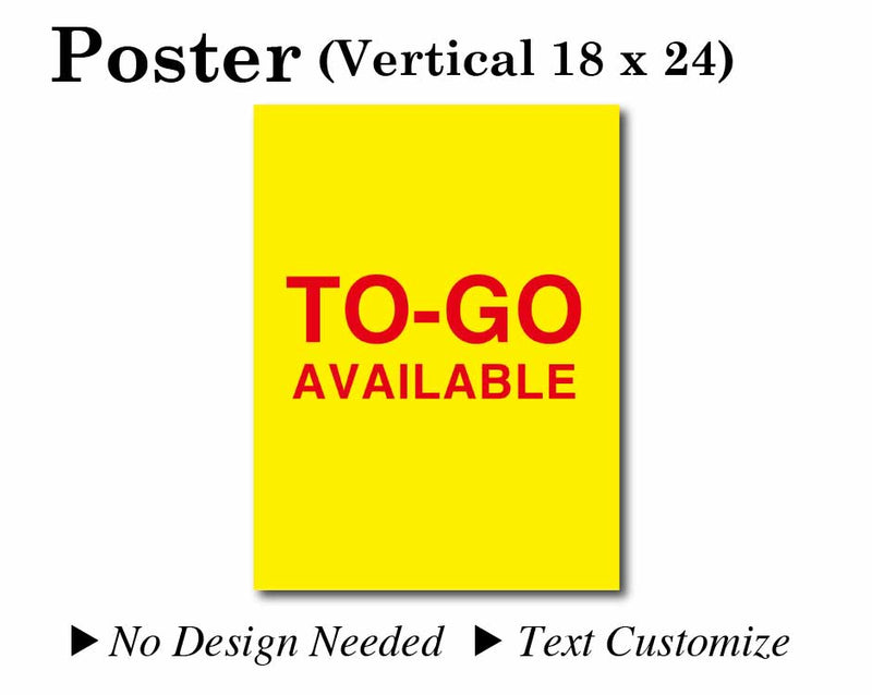 "Poster 18""X24"" Yellow background/Red text[TO-GO AVAILABLE] No need to design"