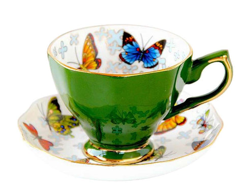 [Green] Exquisite Demitasse Cup Coffee Cup Espresso Cup and Saucer