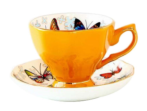[Yellow] Exquisite Demitasse Cup Coffee Cup Espresso Cup and Saucer