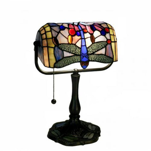 Warehouse of Tiffany Indoor 1-light Dragonfly Bronze Banker Desk Lamp