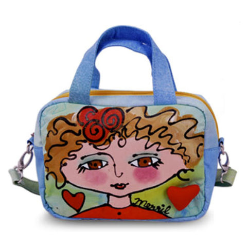 BrightFaces Blond Girl Colorful hand Painted Shoulder Tote Bag - Small w/ Clip - On Shoulder strap And Fabric carry Handles