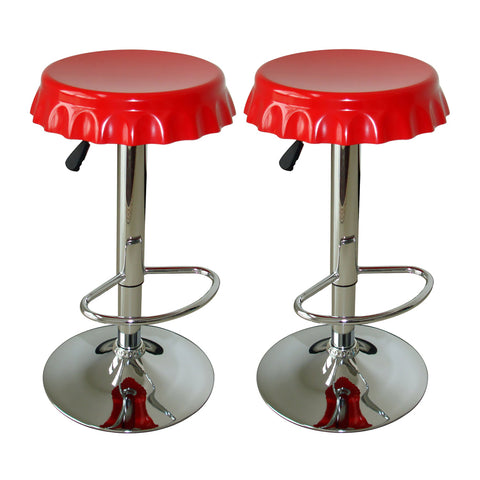 AmeriHome Kitchen Game Room 2 Piece Soda Cap Swivel Seats Bar Stool Set
