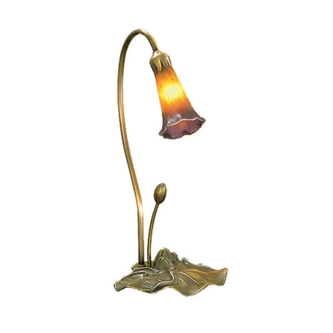 "Meyda 16""""H Amber/Purple Pond Lily Accent Lamp"