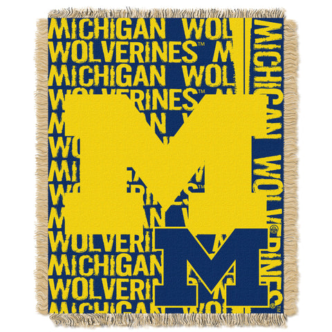 "Michigan OFFICIAL Collegiate, """"Double Play"""" 46""""x 60"""" Triple Woven Jacquard Throw  by The Northwest Company"