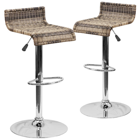 2 Pk. Contemporary Wicker Adjustable Height Barstool with Chrome Base: Brown