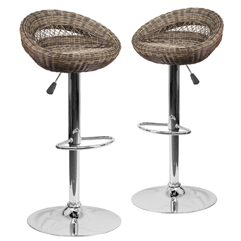 2 Pk. Contemporary Wicker Rounded Back Adjustable Height Barstool with Chrome Base: Brown