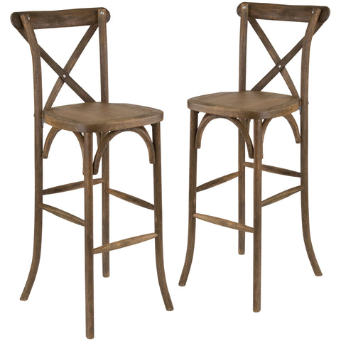 2 Pk. HERCULES Series Wood Cross Back Barstool: Dark Antique