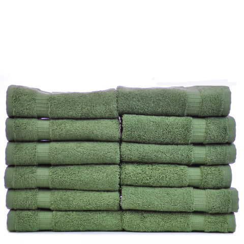 Luxury Hotel & Spa Towel 100% Genuine Turkish Cotton Washcloths - Moss - Dobby Border  - Set of 12
