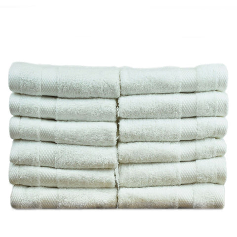 Luxury Hotel & Spa Towel 100% Genuine Turkish Cotton Washcloths - White - Honeycomb  - Set of 12