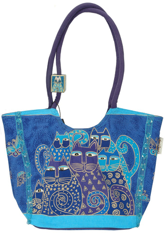 "Laurel Burch Scoop Tote Zipper Top 17""""X7""""X11""""-Indigo Cats"
