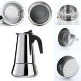 Stainless Steel Italian Espresso Coffee Maker 100/200/300/450ML Percolator Tool Cafetiere  Big Belly Stove Moka Coffee Pot