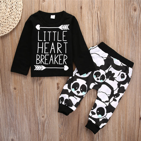 "Cute 2-Piece ""Little Heart Breaker"" Clothing Set For Baby Boys"