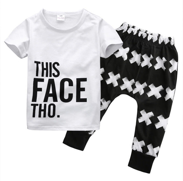 "Super Cool 2-Piece ""This Face Tho'"" Clothing Set For Boys"