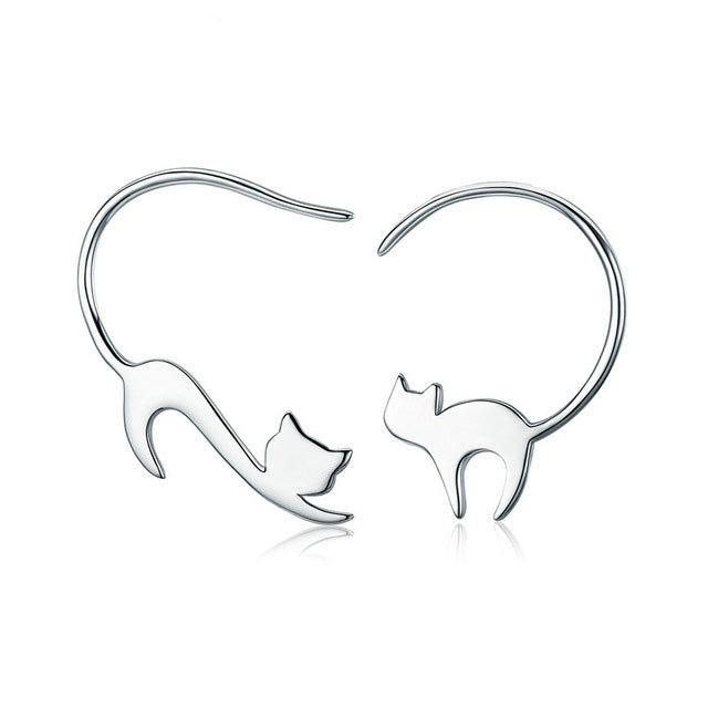 925 Sterling Silver Cute Little Cat Earrings