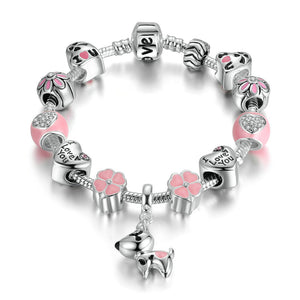 Pink Heart & Flower Charm Bracelet w/dog dangle charm