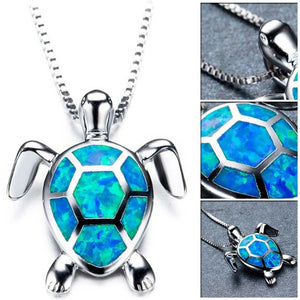 Silver Filled Blue Opal Sea Turtle Pendant Necklace