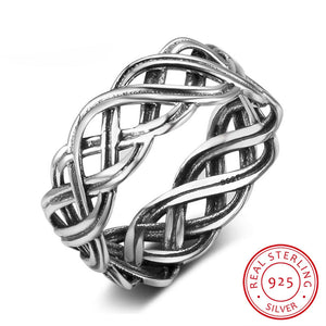 Solid 925 Sterling Silver Female Rings With 7mm Wide Lace Weaving Engagement Rings