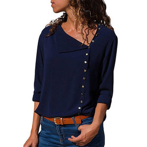 Womens Skew Collar Long Sleeve Chiffon Blouse
