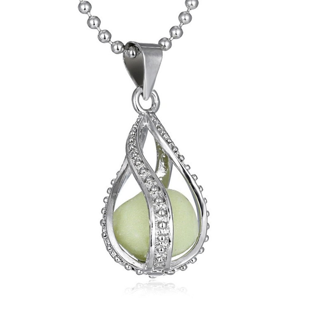 Glowing Necklace Gem Charm Jewelry Silver Plated Women Halloween Hollow Luminous Stone Necklace