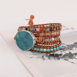Bohemian OceanStone Leather Wrap Beaded Bracelet