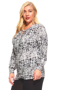 Women's Plus Size Long Sleeved Printed Tunic