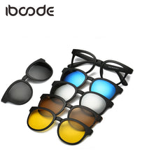 iboode TR90 Clear Lens Sunglasses with 5 Polarized Magnetic Clip-On Lenses