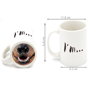 Ceramic Dog or Pig Nose Funny Coffee Mug --Novelty Have A Nice Day Middle Finger Mugs
