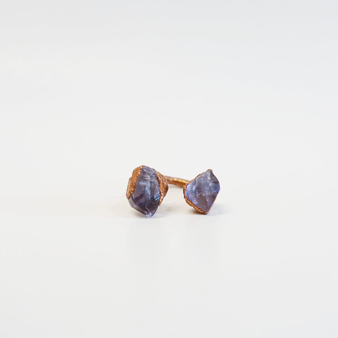 Amethyst 2-Stone Set Copper-Plated Ring (Size 4.25)