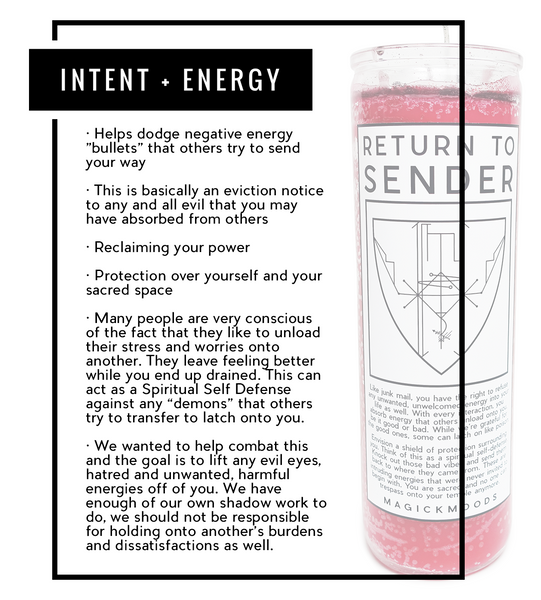 Return To Sender 7-Day Meditation Candle - PREORDER - Ships by 12/13