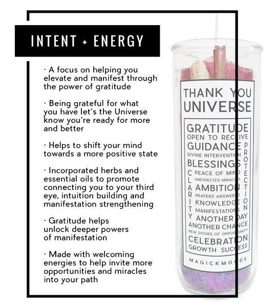Thank You Universe 7-Day Meditation Candle - PREORDER - Ships by 12/13