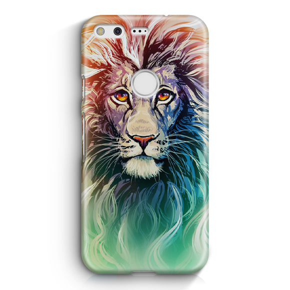 A Color Sketch Of A Fierce Lion Google Pixel Case | Tridicase