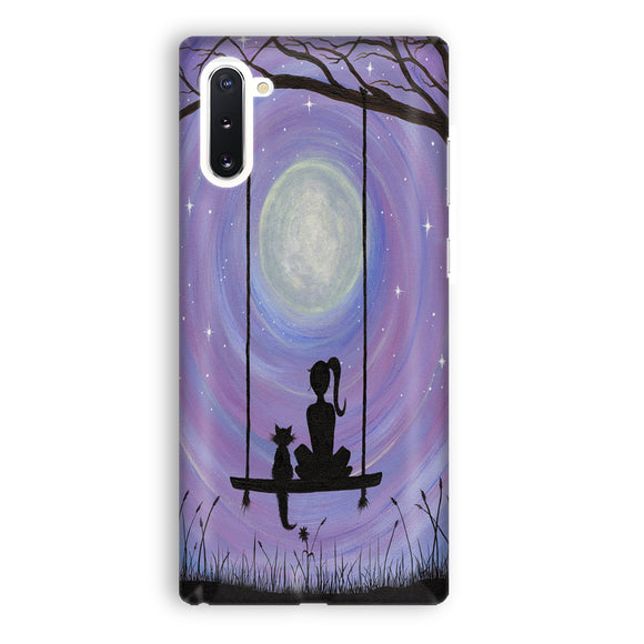 Woman Cat and Moon Samsung Galaxy Note 10 Case | Tridicase