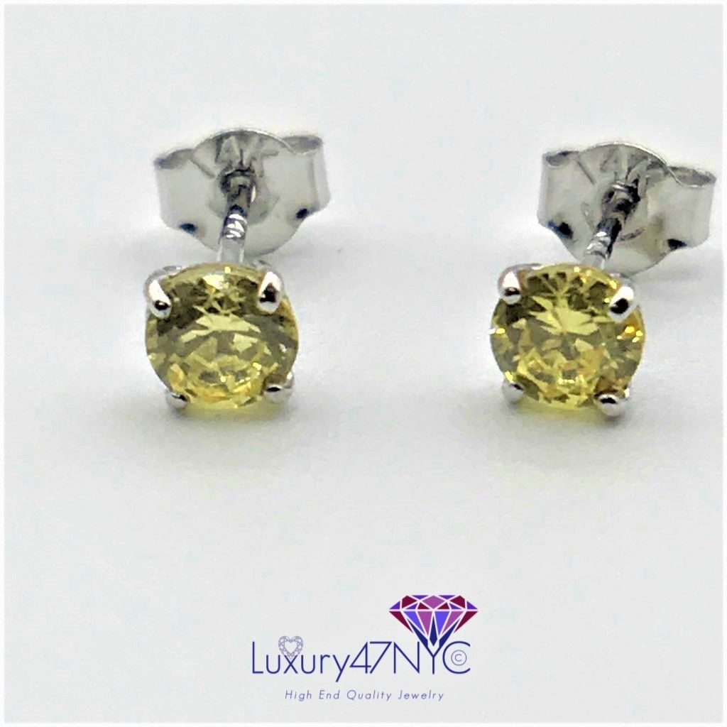 1.00CT Round Brilliant Fancy Yellow Sapphire Studs Earrings 14K White Gold