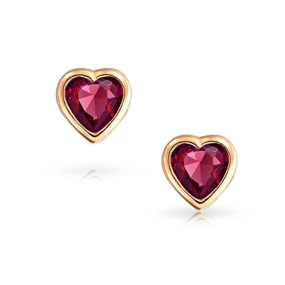 14K Yellow Gold Stud Earrings 0.50ct Ruby Heart Baby Safety Screw back