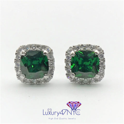 2.00CT Cushion Emerald Cut Diamond Stud Earrings 14K White Gold Sparkly