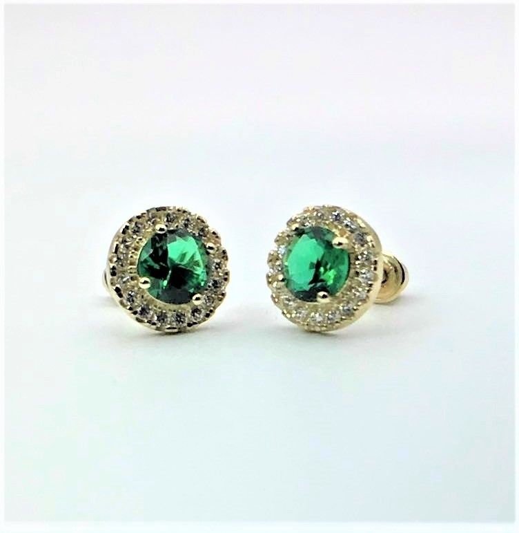 1CT Halo Green Emerald Created Diamond Studs Earrings 14k Yellow Gold Screwback