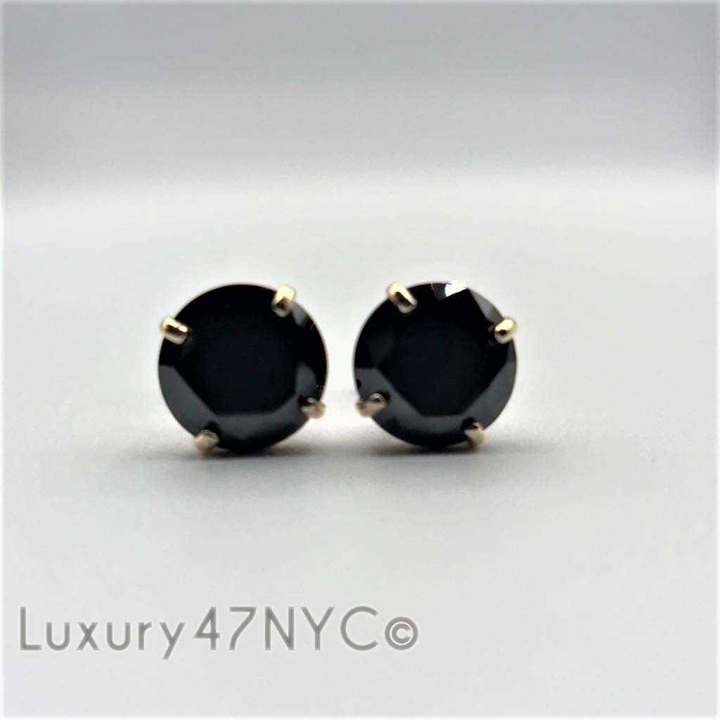 2.00Ct Round Created Black Diamond Solitaire Stud Earrings 14K Solid Yellow Gold