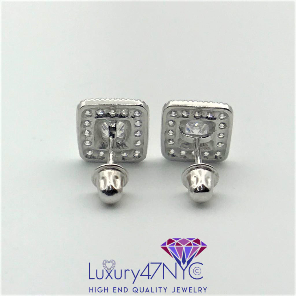 0.50ct Princess Cut Diamond Square Earrings 14k White Gold Screwback Studs New