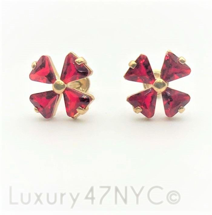 1.0 CT Ruby Stud Earrings Solid 14K Yellow Gold Brilliant Gift Fine