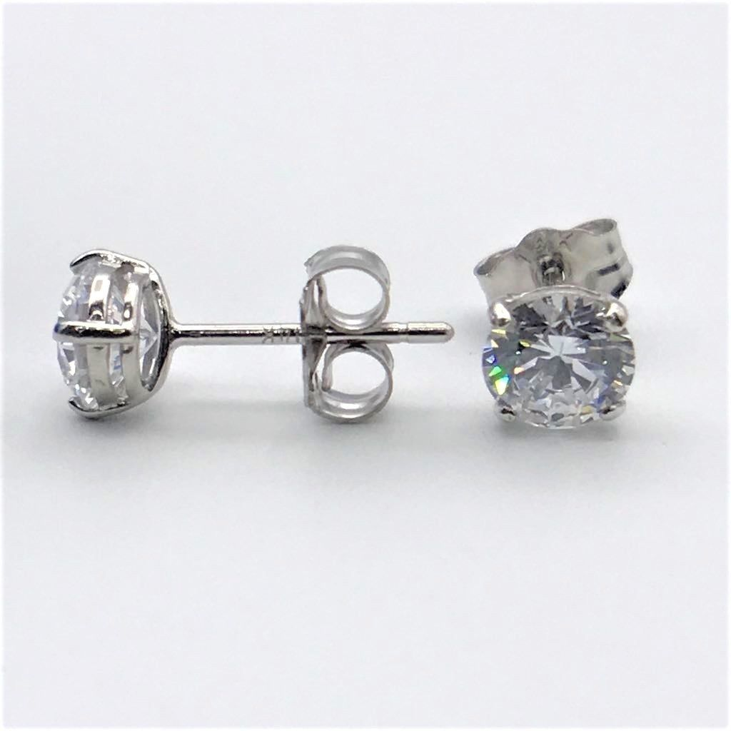 0.25Ct. Brilliant Created Diamond Solitaire Earrings 14K Solid White Gold Studs
