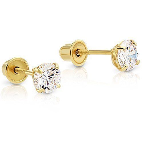 14K Solid Yellow Gold CREATED DIAMOND Stud Earrings