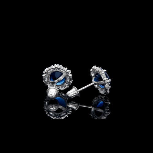 2.00TCW Blue Sapphire Halo Marquise Created Diamond Earrings 925 Sterling Silver
