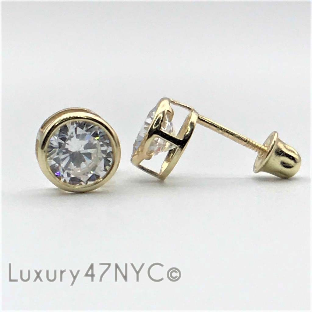 0.50CT Brilliant Created Diamond Bezel Earrings 14K Solid Yellow Gold Round Stud