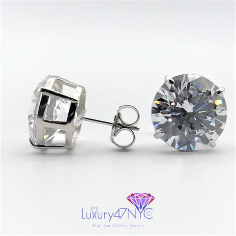 20.00 Carat Round Brilliant Diamond Stud Earrings Solid 14K White Gold +AAA