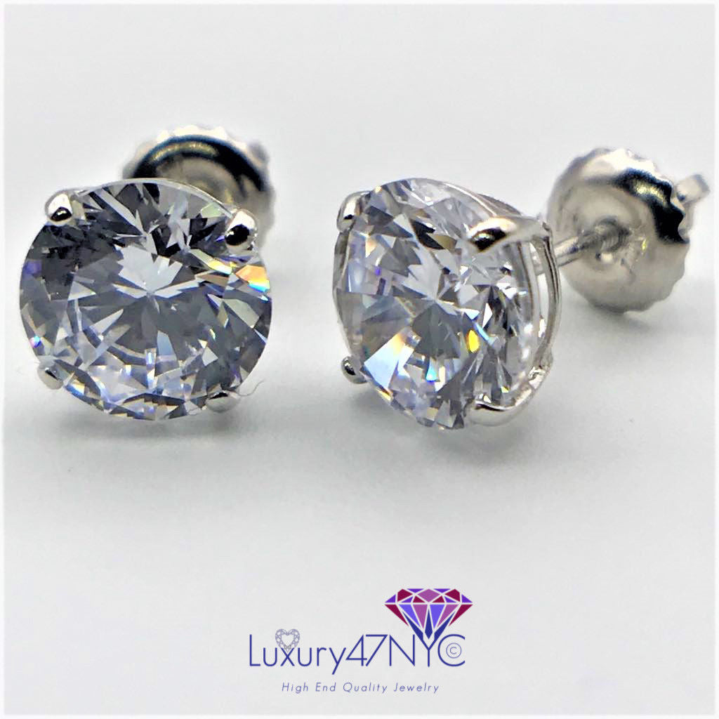 1.00 Ct Brilliant Round Basket Screw Back Stud Earrings 14K Solid White Gold New