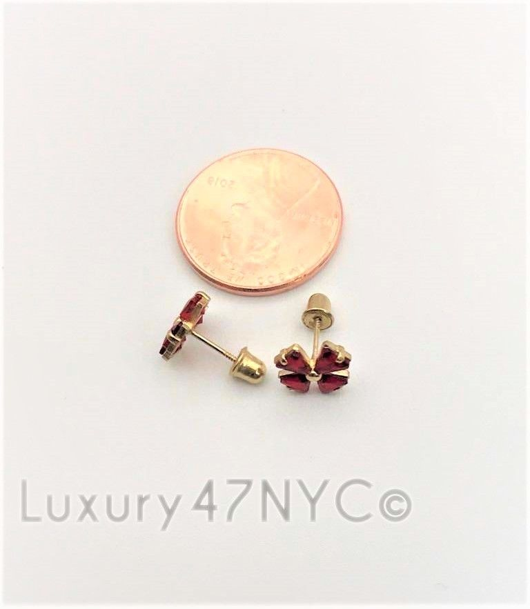 14k Yellow Gold 0.80ct Round Fancy Red Ruby Flower Studs Earrings Fine Brilliant