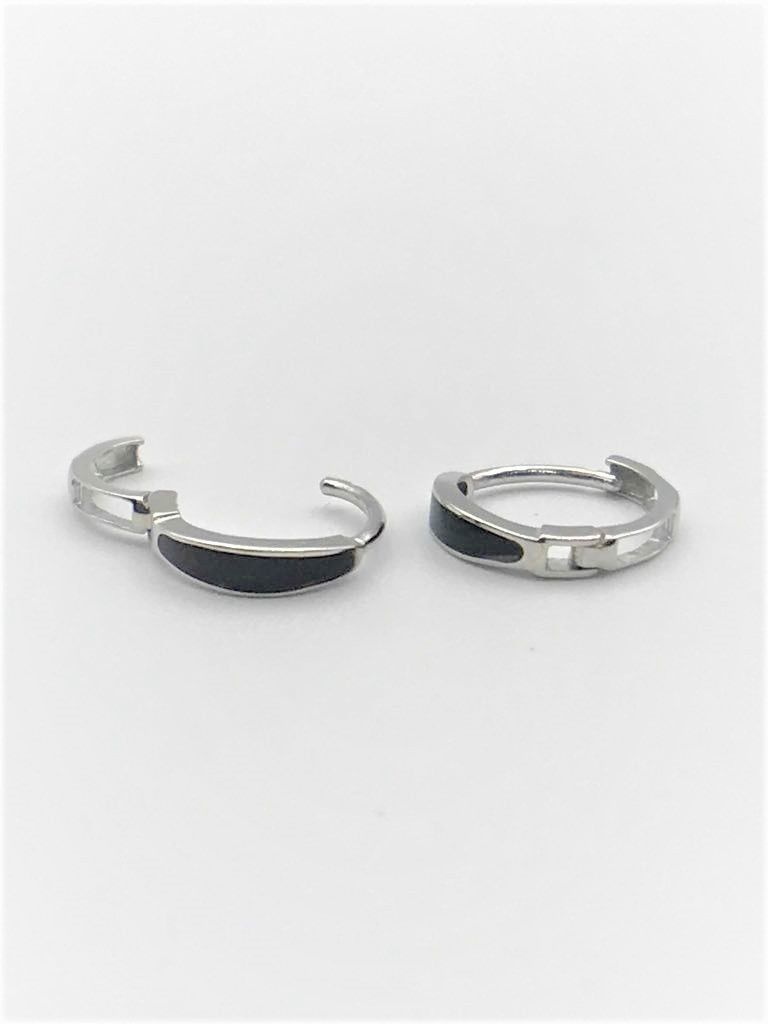 Black Onyx Huggies Solid 14k White Gold Round Huggie Hoop Earrings Fine Fancy +